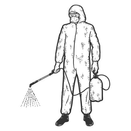 Disinfector character in protective suits with poison spray bottle. Sketch scratch board imitation coloring.