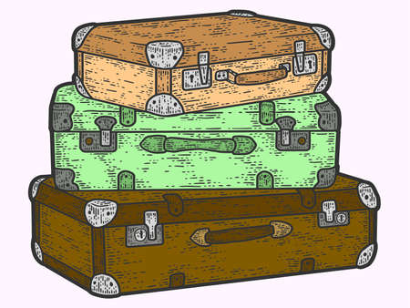 Retro travel suitcases stacked on top of each other. Sketch scratch board imitation color.