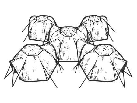 Multi room tent. Sketch scratch board imitation coloring.