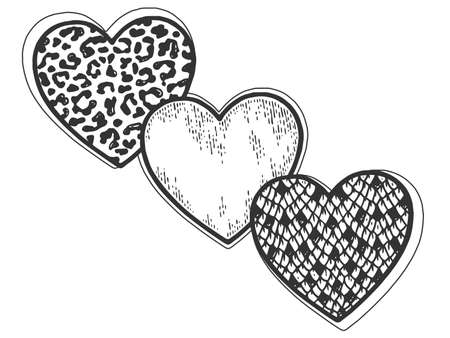 Three hearts, snake, leopard and sketch. Sign and symbol of love. Scratch board imitation coloring Standard-Bild