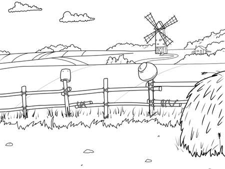 Rural landscape, field and haystack. Children coloring book. White background, black outline.