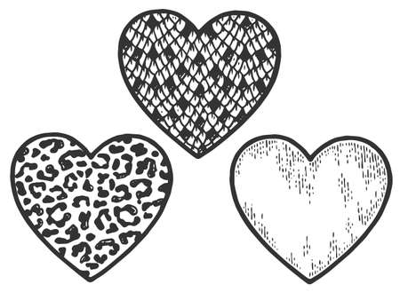 Three hearts near, snake, leopard and sketch. Sign and symbol of love. Scratch board imitation coloring Illustration