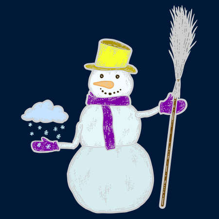Snowman holds broom and cloud of snow in his hand color. Sketch scratch board imitation.