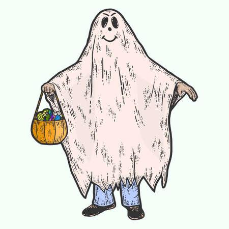 Halloween, ghost costume. Sketch scratch board imitation color.