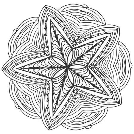 Mandala, star shaped. Ornamental round doodle flower isolated.
