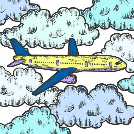 Plane is flying in thick clouds color. Sketch scratch board imitation.