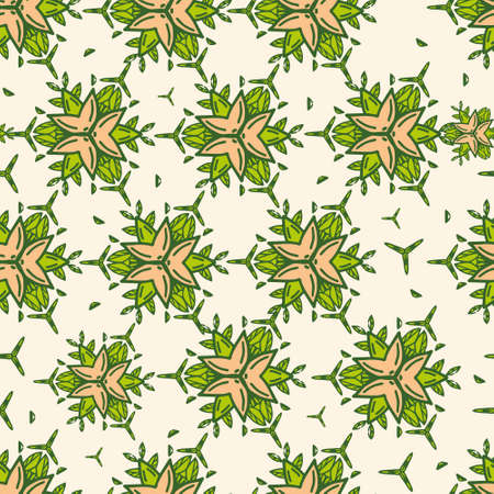 Geometric seamless background from flowers color. Uniform pattern.