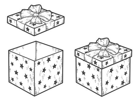 Set of gift box with bow. Closed and open lid. Sketch scratch board imitation coloring. Standard-Bild