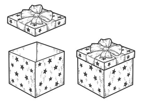 Set of gift box with bow. Closed and open lid. Sketch scratch board imitation coloring. Illustration
