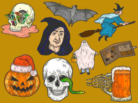 Halloween big set, sketch drawings. Color scratch board imitation. Illustration