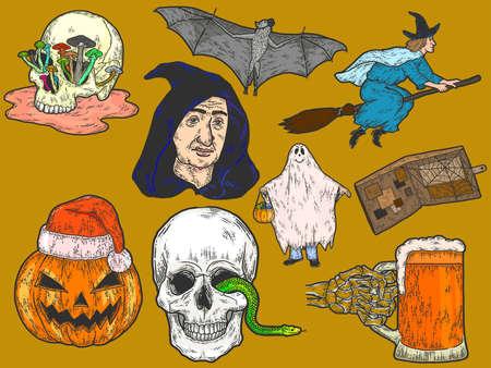 Halloween big set, sketch drawings. Color scratch board imitation. Standard-Bild