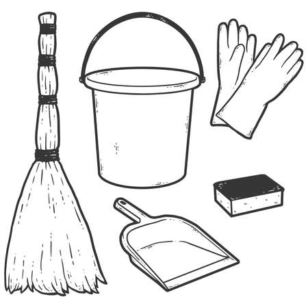 Set of objects for cleaning. Sketch scratch board imitation coloring.