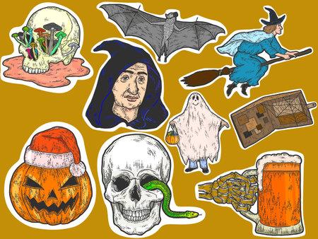 Stickers. Halloween big set, sketch drawings. Color scratch board imitation. Illustration
