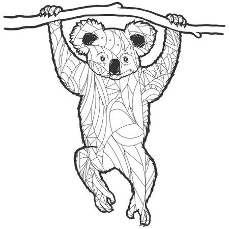 Picture against stress. Koala on the tree. Illustration