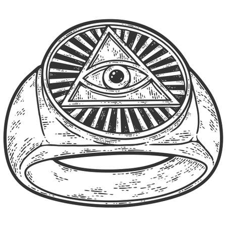 Snake curled in infinity ring. Ouroboros devouring its own tail. Serpent tattoo design, witchcraft masonic, vector illustration
