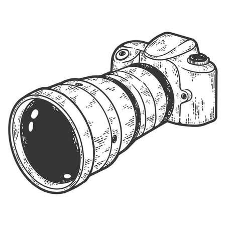 Vintage camera with a big lens. Sketch scratch board imitation.