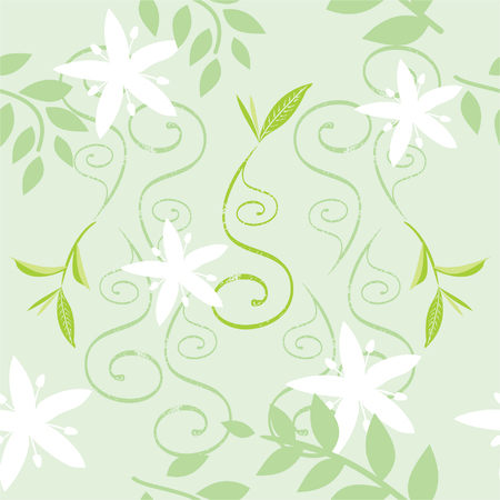 Green seamless floral pattern Illustration