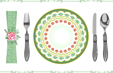 dinner party table: menu