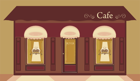 Store window with Heart coffee logo vector illustration