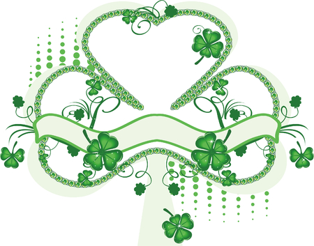 Green background with shamrock Stock Vector - 4433090