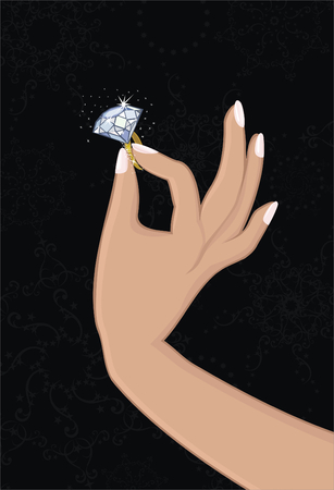 Diamond ring in woman's hand  向量圖像