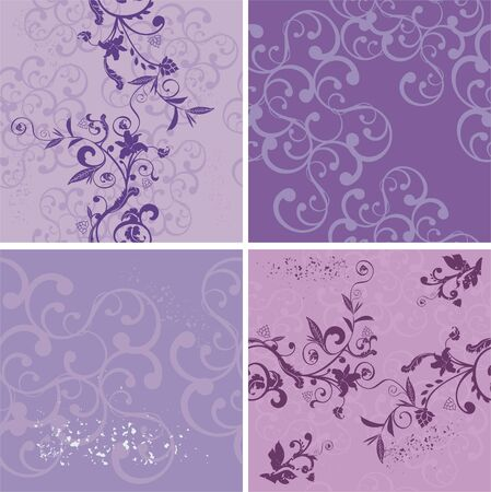 lilac flower: Four seamless violet backgrounds
