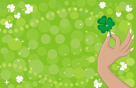 Green background with shamrock Stock Vector - 6286448