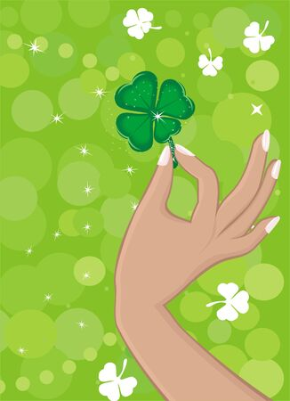 Green background with shamrock Stock Vector - 6286447
