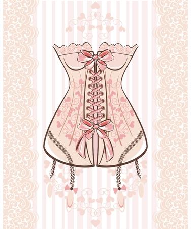 corsetto: Corset con nastro e pizzo