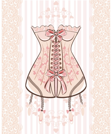Corset with ribbon and lace