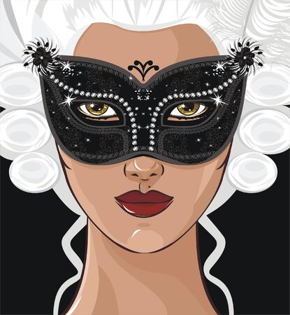 girl with mask 일러스트