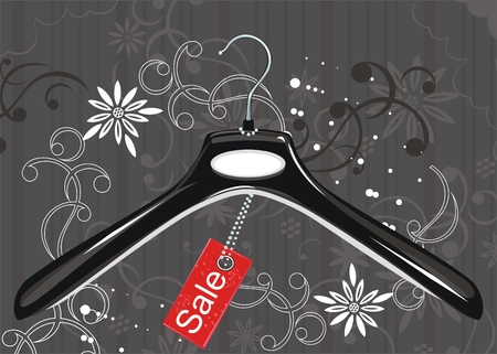 Black coat hanger and sale tag  Vector