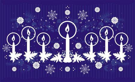 christmas background with candles  Stock Vector - 8419503