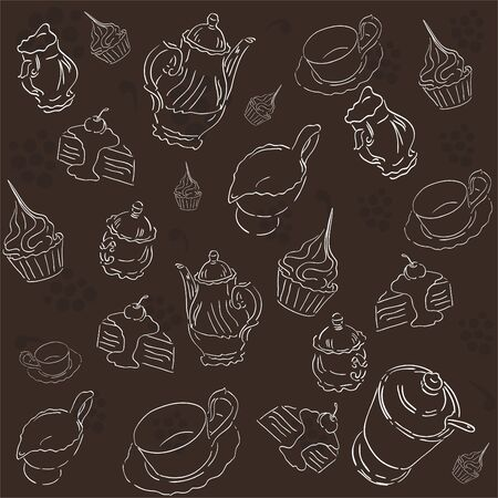 Pattern with teacups, teapots, and sweets  Vector