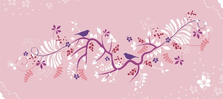 Ornate background with bird  Vector
