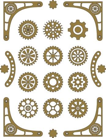 Steampunk, set of retro styled gear wheels  Illusztráció
