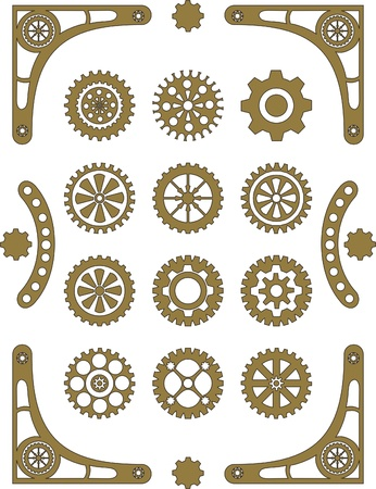 Steampunk, set of retro styled gear wheels  Vector