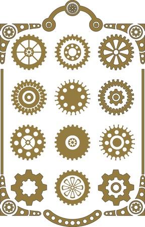 Steampunk, set of retro styled gear wheels  일러스트