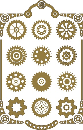 cogs and gears: Steampunk, set of retro styled gear wheels  Illustration