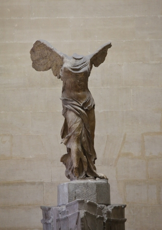 PARIS, FRANCE - APRIL 11, 2012: Statue of Nike in Louvre museum on April 11, 2012 in Paris.