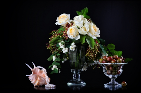 Still life with white roses  and fresh gooseberry