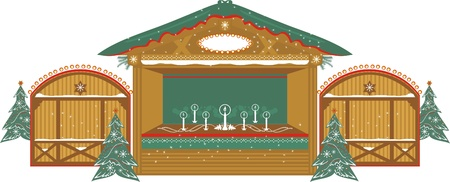 Christmas  traditional decorated Kiosk with candles Stock Vector - 16441370