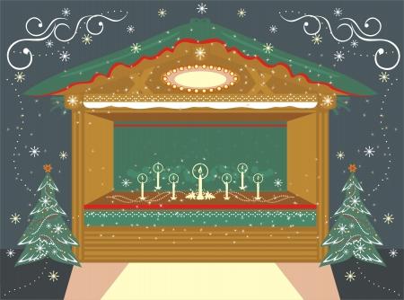 Christmas  traditional decorated Kiosk with candles  Ilustração
