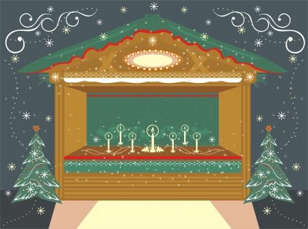 Christmas  traditional decorated Kiosk with candles  Stock Vector - 16441369