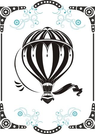 globo: Steampunk marco del estilo y un globo de aire caliente vendimia