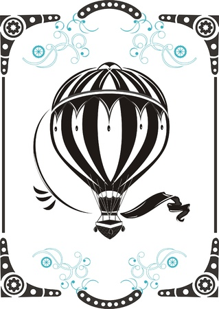 Steampunk style frame and vintage  hot air balloon Illustration