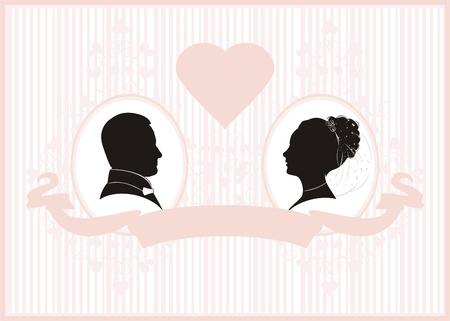 Retro styled Wedding invitation card. Save the Date card. 일러스트