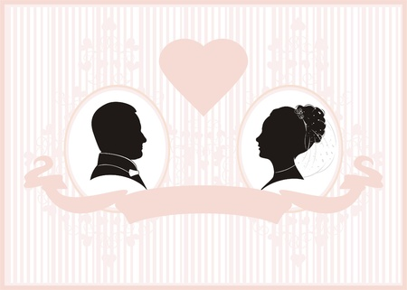 Retro styled Wedding invitation card. Save the Date card. 向量圖像
