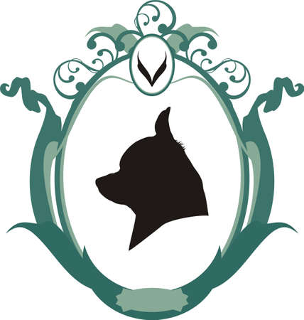 Portrait of Chihuahua  dog in frame,  Icon or logo, Vector