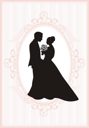 braut und bräutigam: Retro Stil Hochzeitseinladungskarte. Save the Date-Karte.